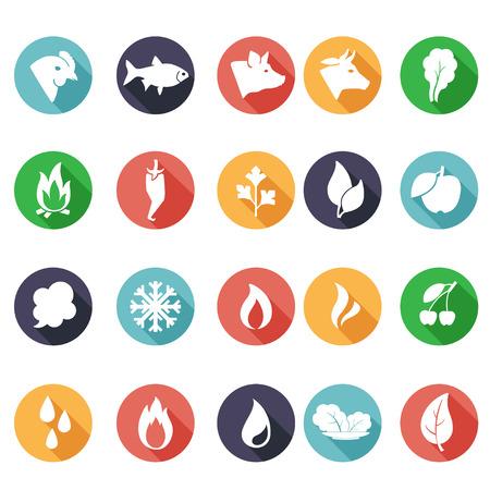 Vector illustratie annimals, bladeren, brand, vorst, stoom, water iconen. Vlakke stijl