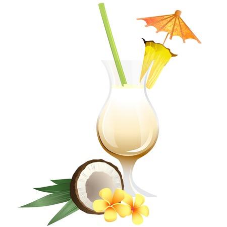 pina colada: Vector Illustration Icon of Cocktail Pina Colada with garnish Illustration