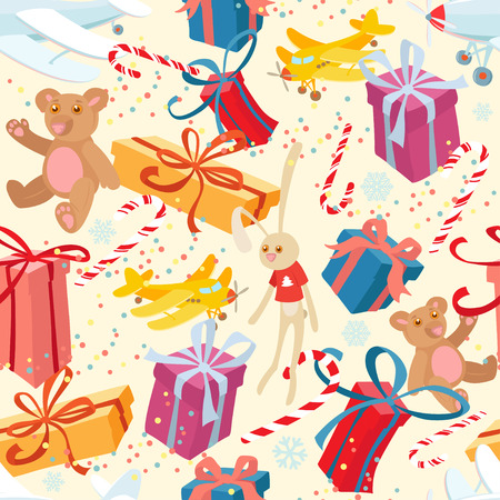 Vector illustration Merry Christmas and Happy New Year festive seamless pattern with presents and toys. Flat style Vector