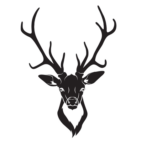 deer silhouette: Vector ullustration of Deer head isolated