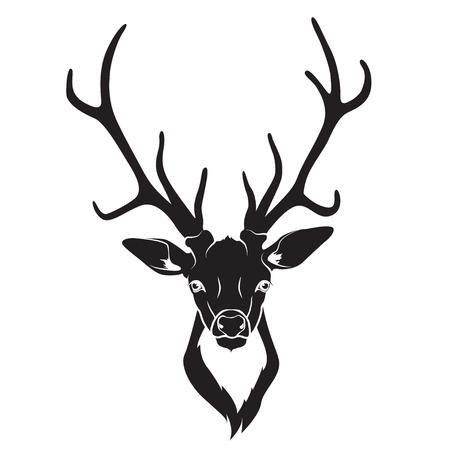 Vector ullustration van Deer hoofd geïsoleerd Stock Illustratie