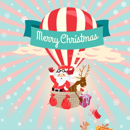 Vector illustration Festive Merry Christmas greeting card with Santa Claus and his deer flying on air balloon giving presents and toys. Flat style Illustration