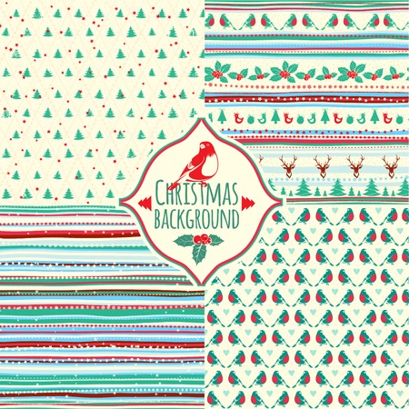 Vector Illustration of Set of four Christmas patterns Vector