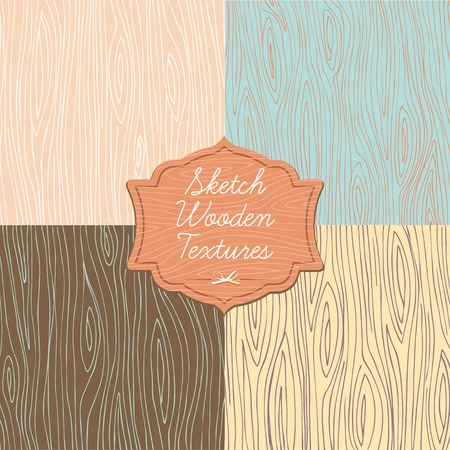 Vector Illustration of  Art wooden texture with signboard