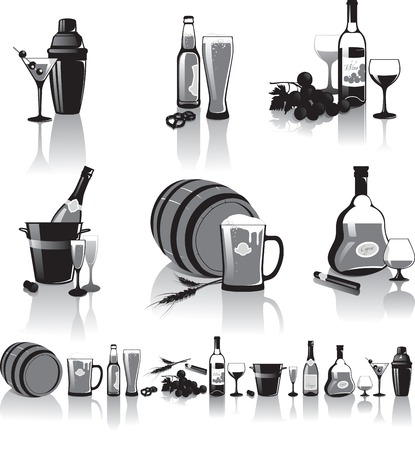 havana cigar: Black-and-white still-life of spirits and glasses with reflection