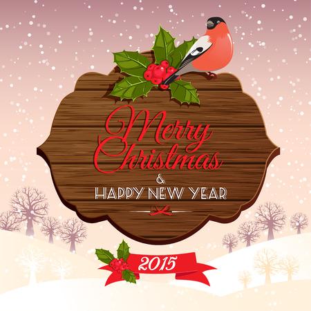 Vector illustration enseigne Noël avec baie de houx et bouvreuil Banque d'images - 33851222