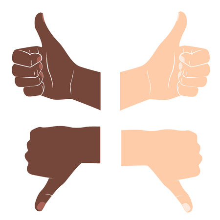Vector Illustration of  Thumbs up and down. Drawn by hands icons. Flat style Illustration