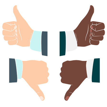 Vector Illustration of Thumbs up and down. Drawn by hands icons. Flat style Vector