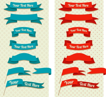 Vector Illustration of  vintage ribbons and flags on pastel pattern Vector