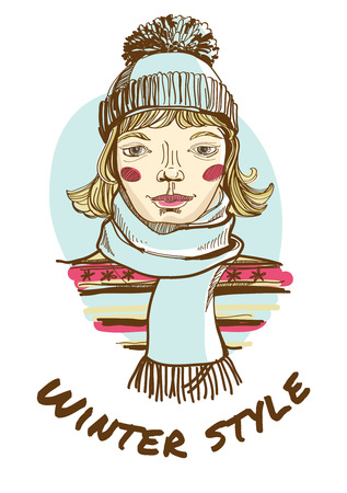 woman in scarf: Illustration of a Blonde woman wearing striped sweater, scarf and cap. Hand-drawing sketch