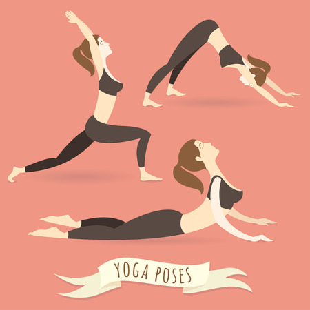 Vector illustration Young woman practicing warrior, downward and upward facing dog poses. Flat style.