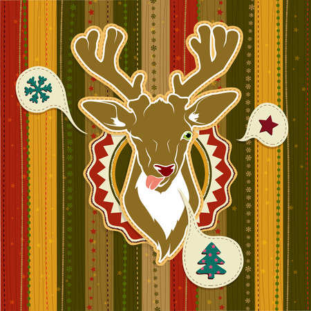 yaer: Illustration of Vintage vector Christmas card with Deer showing his tongue Illustration