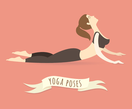 Vector illustration Young woman practicing upward facing dog pose. Flat style.