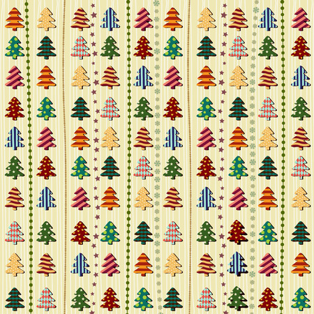 Vector illustration of Seamless pattern with Christmas trees Vector