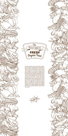 Vector illustratie Schets hand getekende schets naadloze plantaardige grens vlakke stijl, dunne lijn