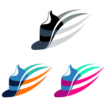 training shoes: Vector illustration Sport shoes sign with color variations