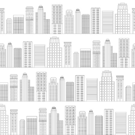 Vector illustration Seamless pattern of line skyscrapers. Black and white Vector