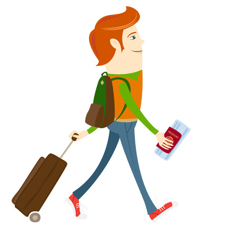 Vector illustration Hipster-traveler walking and holding passport, ticket and suitcase Vector