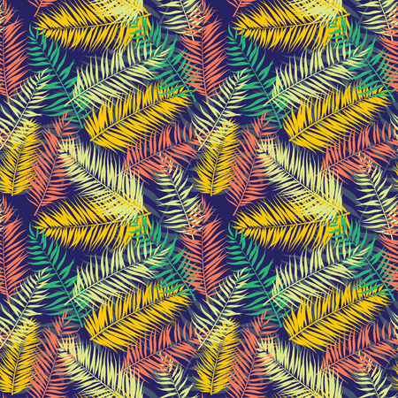 Vector illustration Seamless color palm leaves pattern  イラスト・ベクター素材