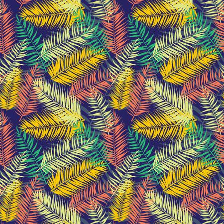 Vector illustration Seamless color palm leaves pattern Illustration