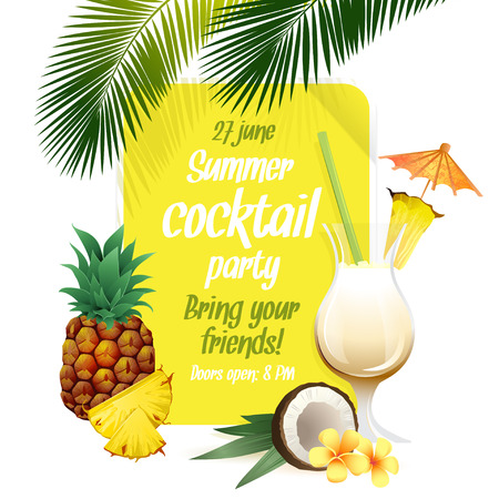Vector illustration Beach tropical cocktail pina colada with garnish and pineapple colorful poster