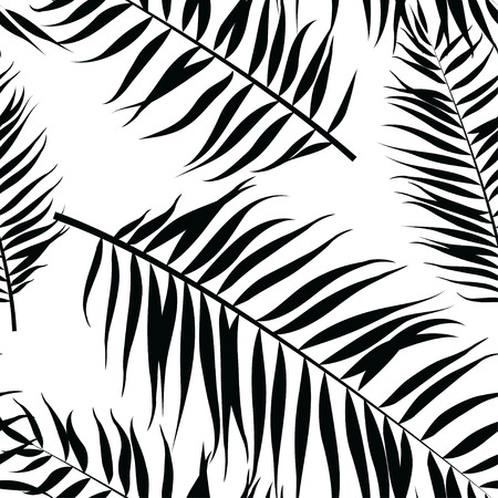 palm computer: Vector illustration Seamless color palm leaves pattern. Flat style. Black and white