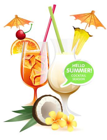 mama: Vector illustration Beach tropical cocktails bahama mama and pina colada with garnish colorful poster