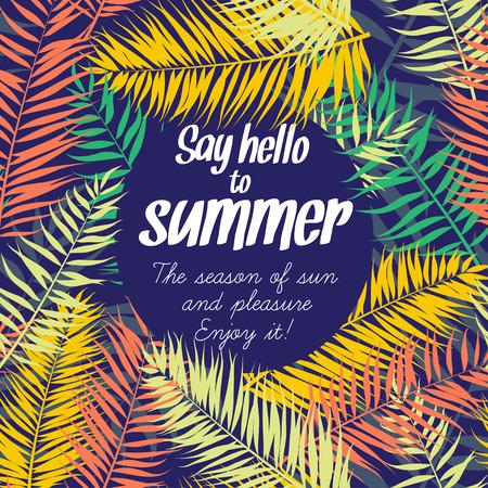 verano: Ilustración vectorial de color las hojas de palma marco para el texto. Estilo Flat Vectores