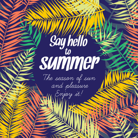 Vector illustration Color palm leaves frame for your text. Flat style Çizim
