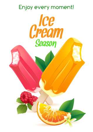 Vector illustration  Orange and raspberry popsicle ice-cream colorful poster