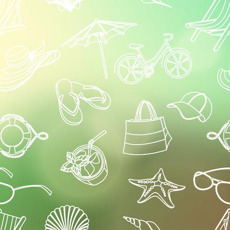 cocktail bar: Vector illustration  Summer icons seamless line pattern. Doodle style. Blured background Illustration