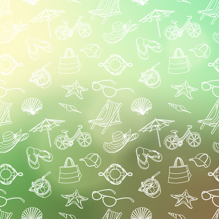 Vector illustration  Summer icons seamless line pattern. Doodle style. Blured background Vector