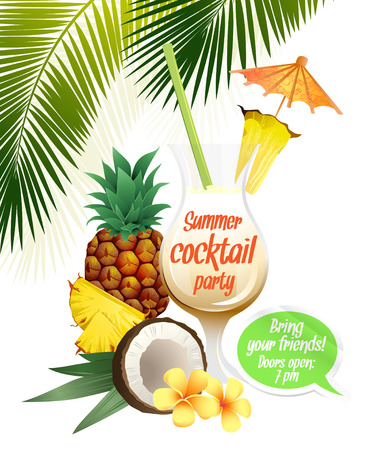 pina: Vector illustration Beach tropical cocktail pina colada with garnish and pineapple colorful poster