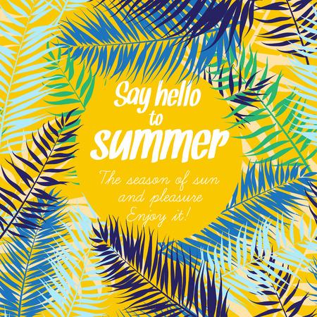 Vector illustration Color palm leaves frame for your text. Flat style Illusztráció