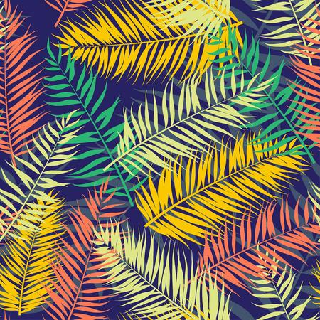 ベクトル図シームレスな色シュロの葉パターン  イラスト・ベクター素材