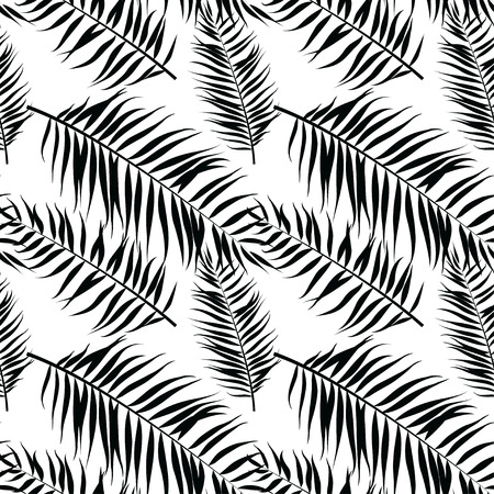 Vector illustration Seamless color palm leaves pattern. Flat style. Black and white