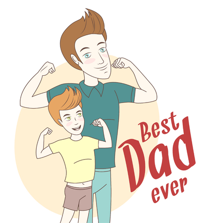 Vector illustration Father and son showing biceps. Hand drawn style. Hand drawn style greeting card for fathers day