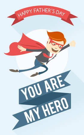 Vector illustration  Father superhero flying. Greeting card for fathers day