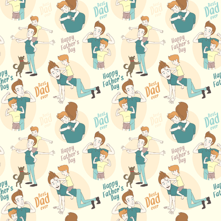 piggyback ride: Vector illustration Festive seamless doodle pattern for fathers day