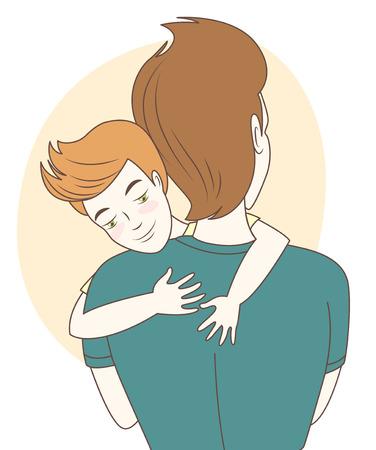 padres: Ilustraci�n vectorial Padre e hijo abrazos. Estilo dibujado a mano Vectores