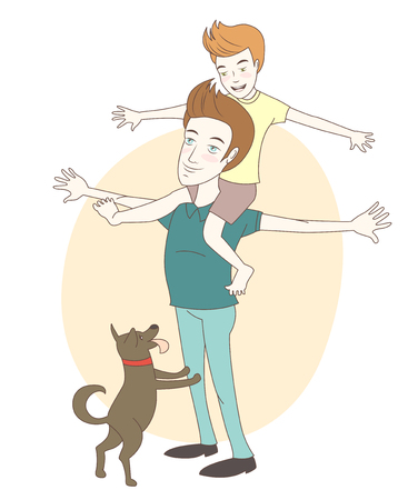 Vector illustration  Son on his fathers shoulders with their dog. Hand drawn style