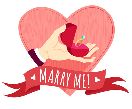 Vector illustration Hand holding wedding ring in a box. Heart shape frame. Flat style Vector