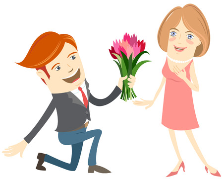 kneeling: Vector illustration Hipster funny man kneeling giving flowers to the smiling woman. Flat style