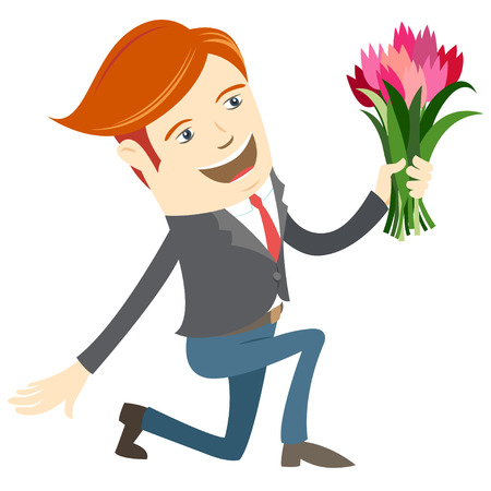 man kneeling: Vector illustration Hipster funny man kneeling holding flowers. Flat style Illustration