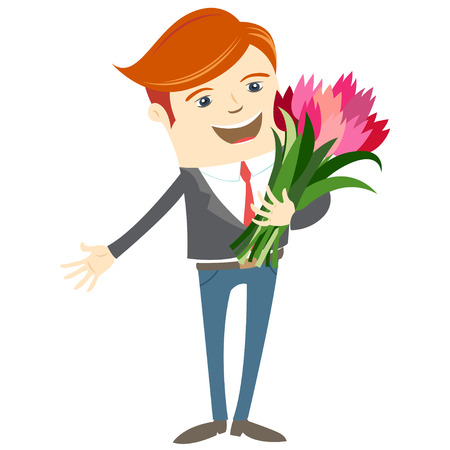 cartoon bouquet: Vector illustration Hipster funny man holding holding flowers. Flat style