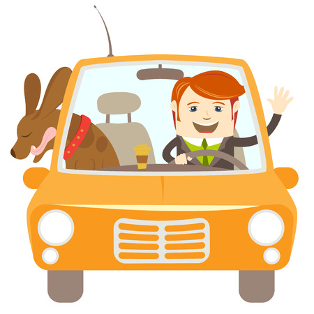 Vector illustration Hipster-traveler driving a car with his dog