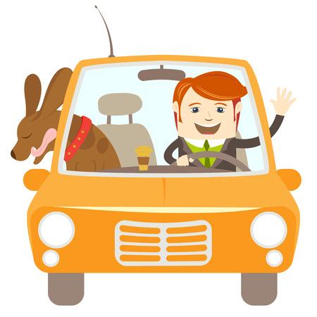 Vector illustratie Hipster-reiziger besturen van een auto met zijn hond