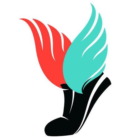 Vector illustratie Sportschoenen ondertekenen met vleugels Stock Illustratie