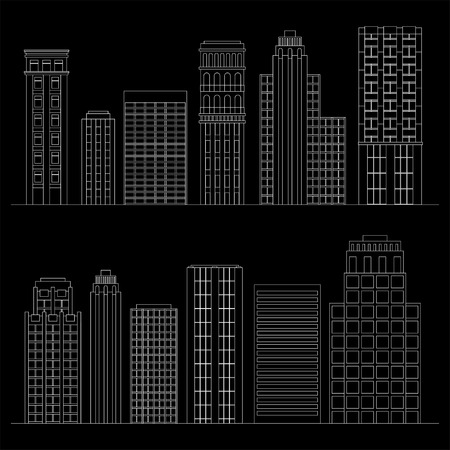 Vector illustration Set of line skyscrapers. Black and white Vector