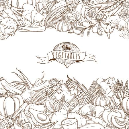 logo de comida: Vector Ilustración de contorno mano boceto dibujado vegetal sin fisuras estilo frontera plana, delgada línea